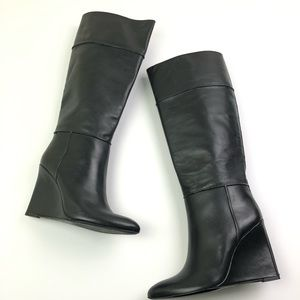 NEW Tory Burch Linnett Wedge Tall Boots Leather